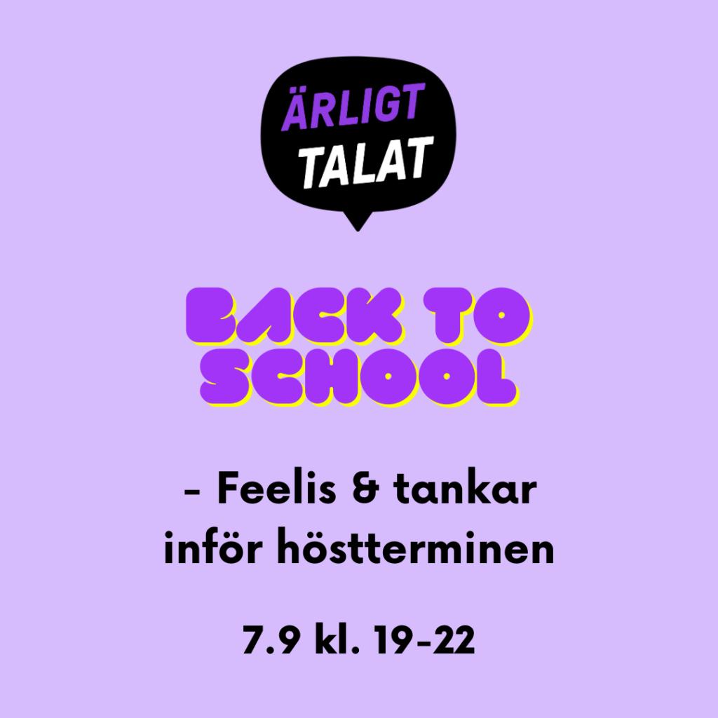 Temachatt: Back to school Må 7.9 kl. 19